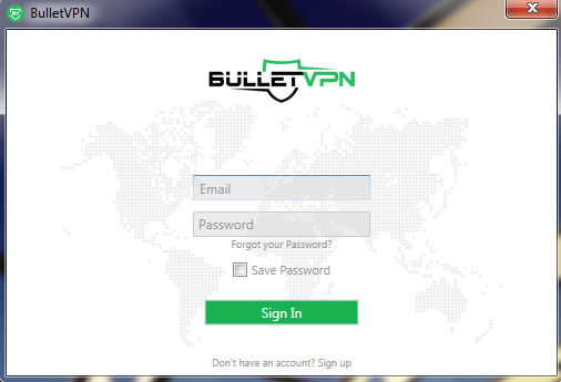 BulletVPN login dashboard