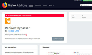 Redirect Bypasser Add on for Mozilla Firefox