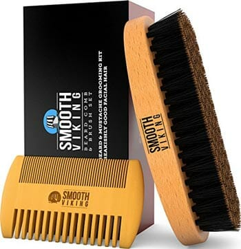 Smooth Viking Beard and Mustache Brush and Comb Kit