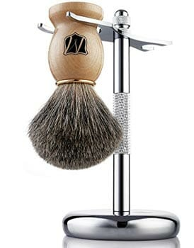 Miusco Badger Hair Shaving Brush and Stand Set