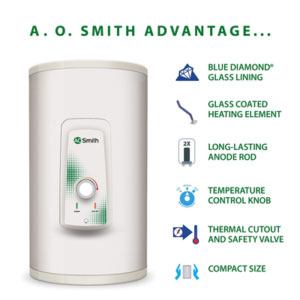 AO Smith HSE-VAS-X-025 Storage 25 Litre Vertical Water Heater